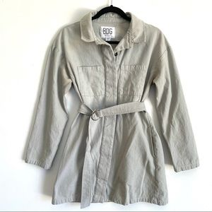 BDG Urban Outfitters Long Jacket Button Up Gray